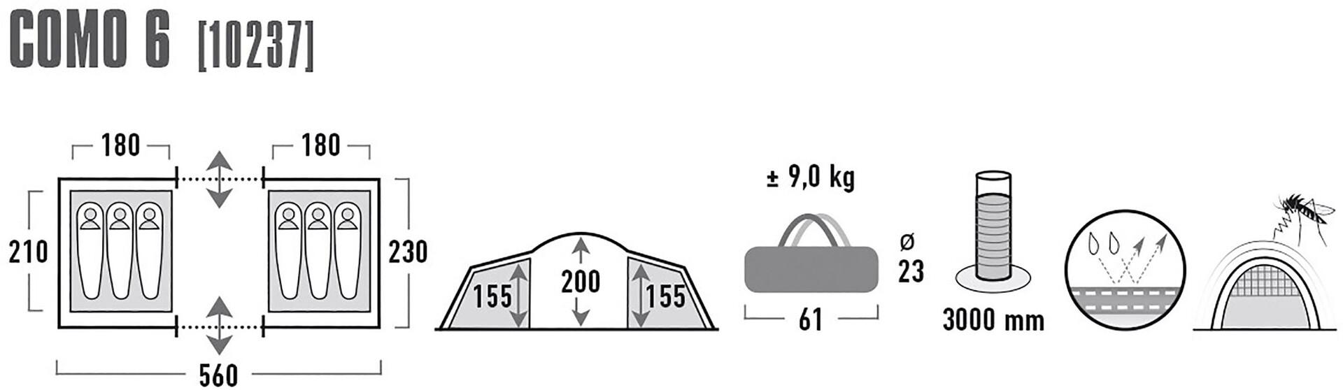 High Peak Como 6 Tent Tent Tent Dark Grå/Röd 3a82f9